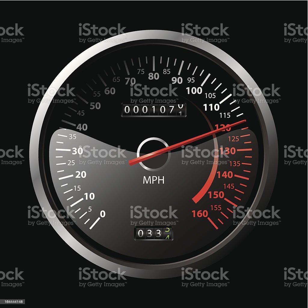 black speedometer vector art illustration