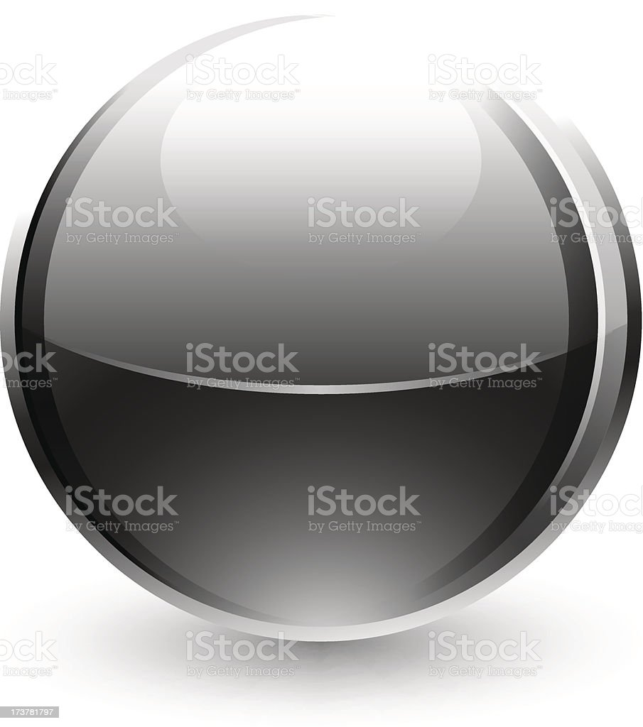 Black sphere glossy ball chrome icon web button white background royalty-free stock vector art