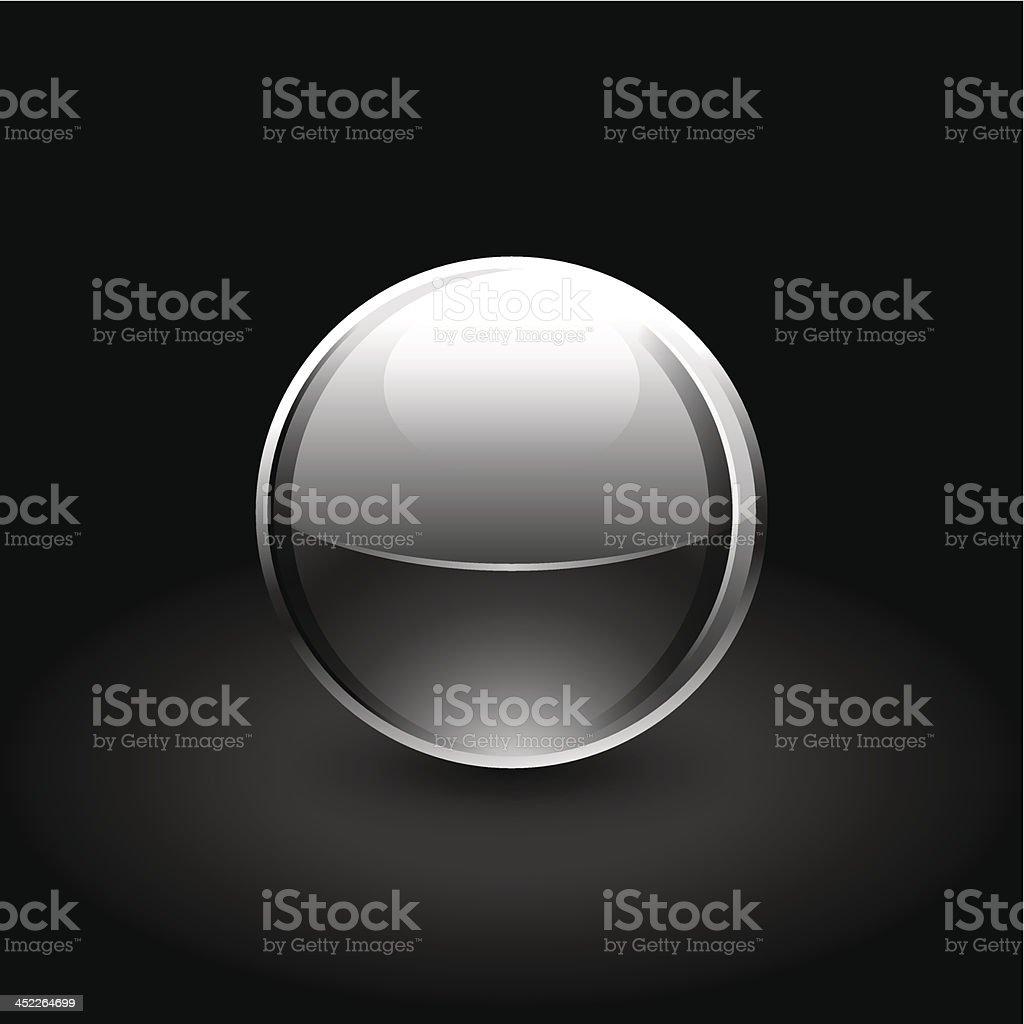 Black sphere glossy ball chrome icon web internet button royalty-free stock vector art