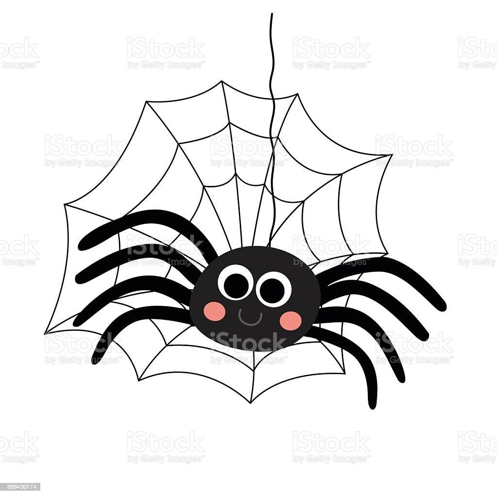 Black Spider animal cartoon character vector illustration. vector art illustration
