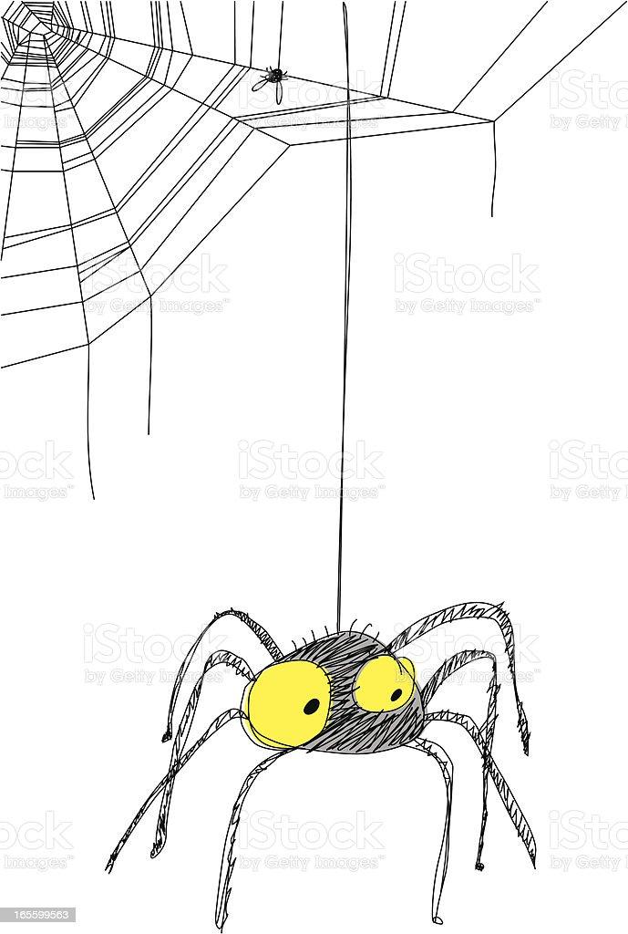 Black Spider hanging from web vector art illustration