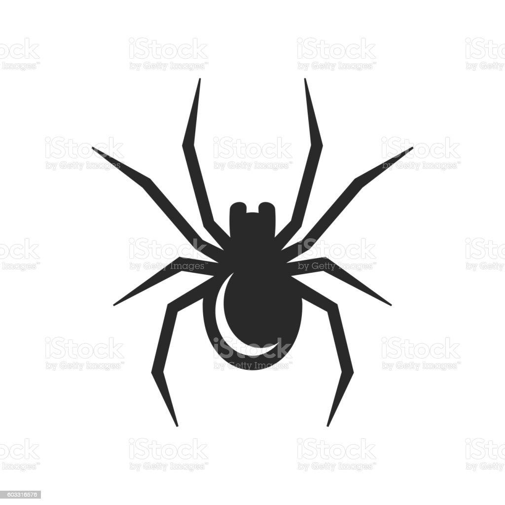 Black Spider Icon. Vector vector art illustration