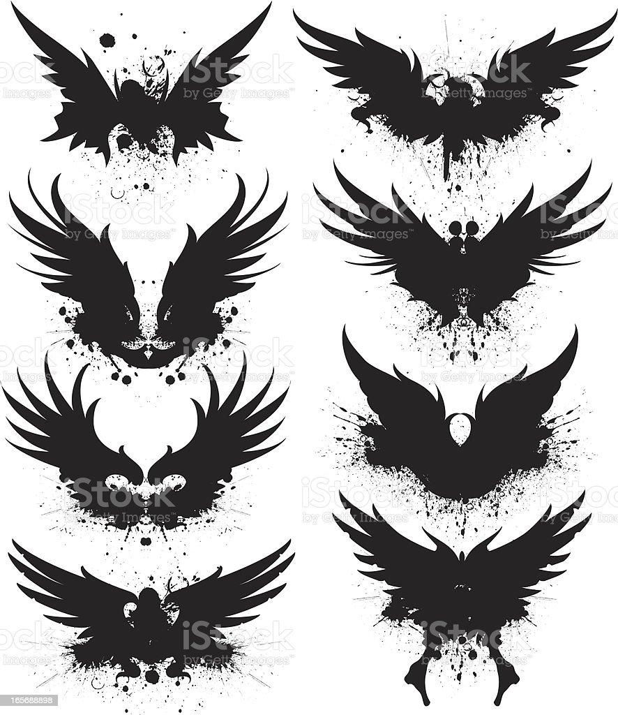 black spread wing silhouette splatter vector art illustration