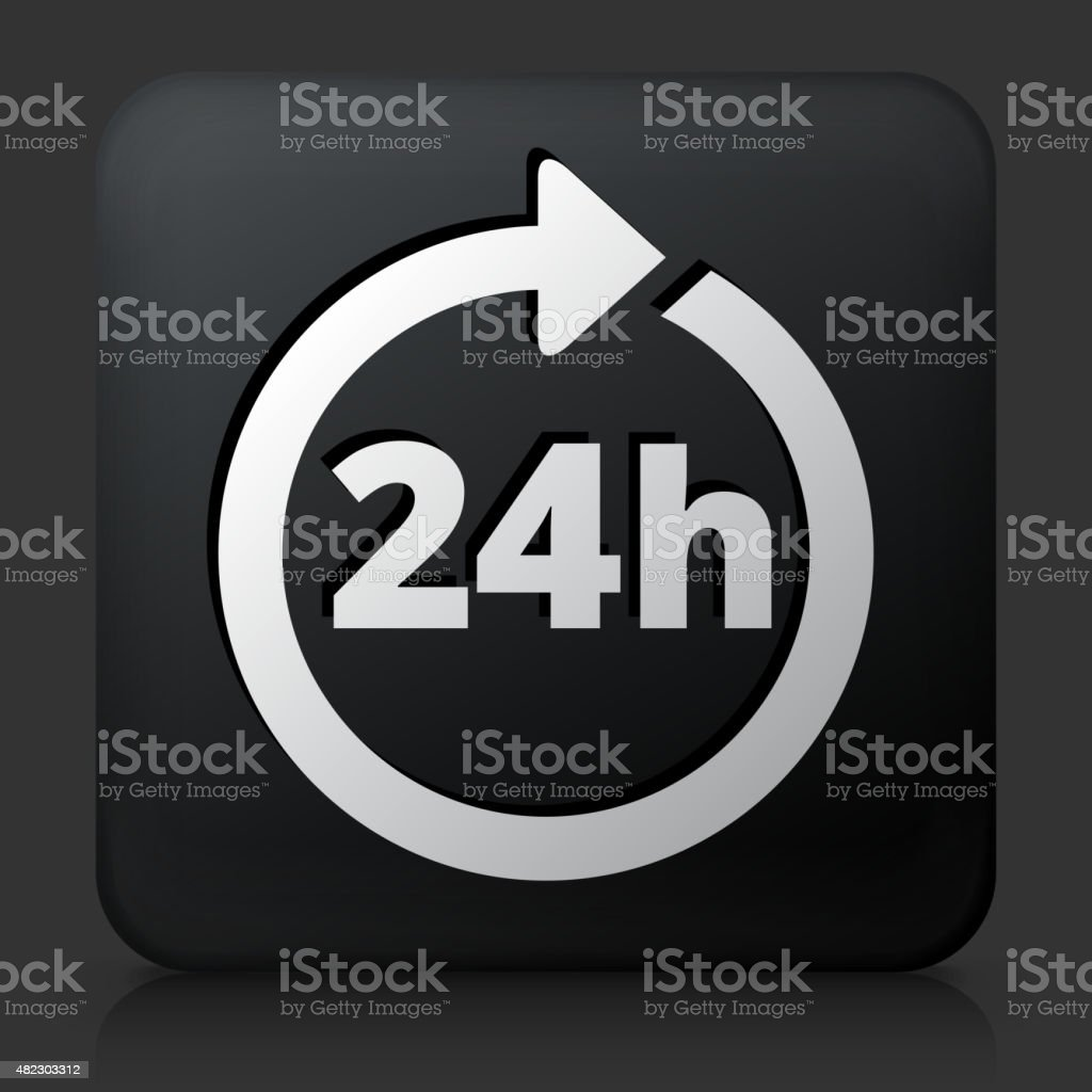 Black Square Button with 24 Hour Service Icon vector art illustration