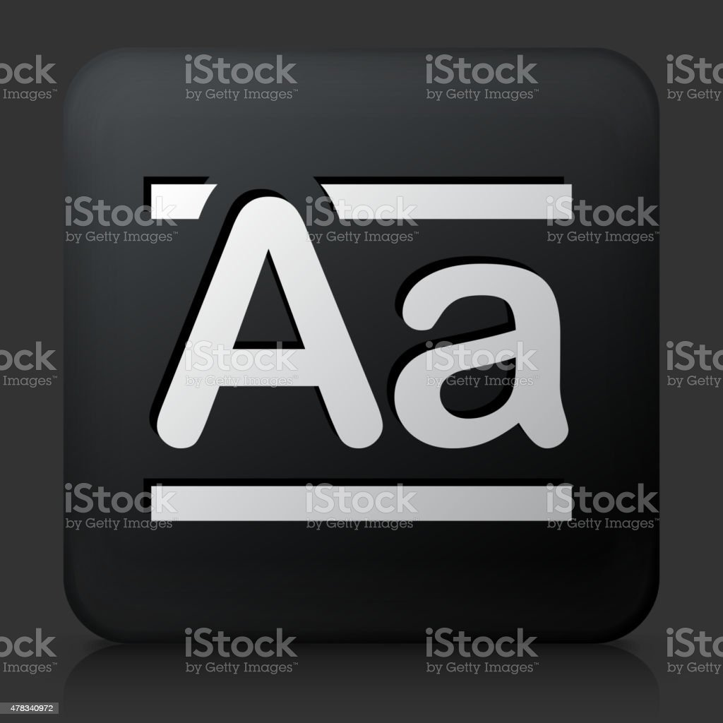 Black Square Button with Alphabet A vector art illustration