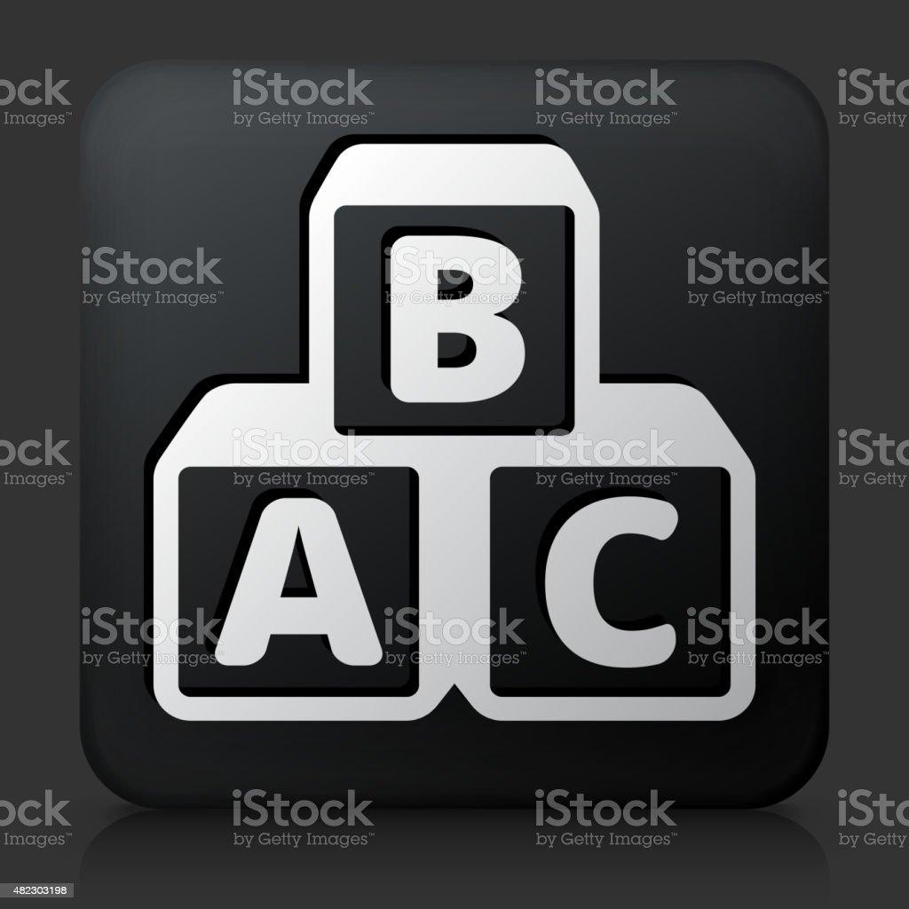 Black square button with Alphabet Blocks vector art illustration