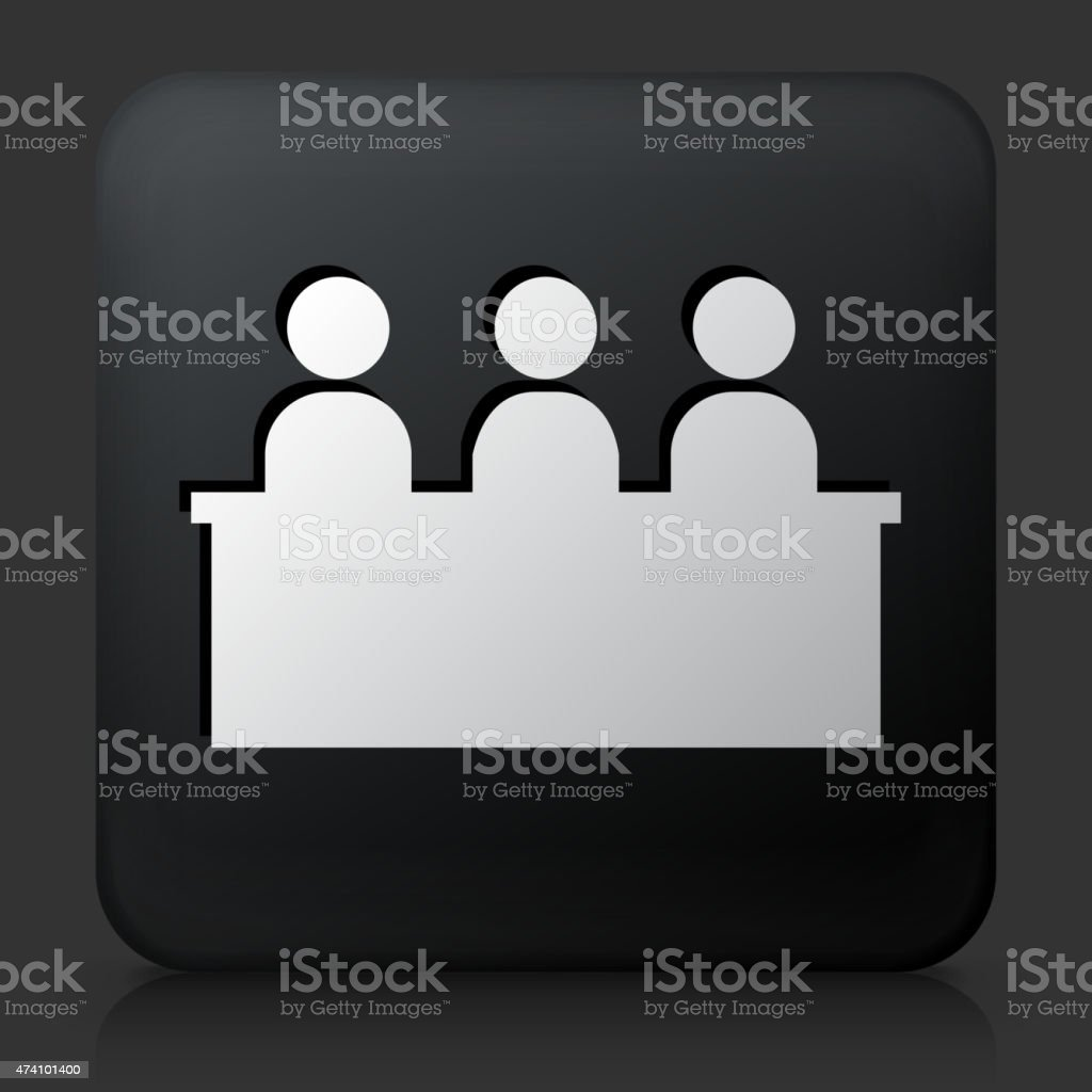 Black Square Button with Audience Icon vector art illustration