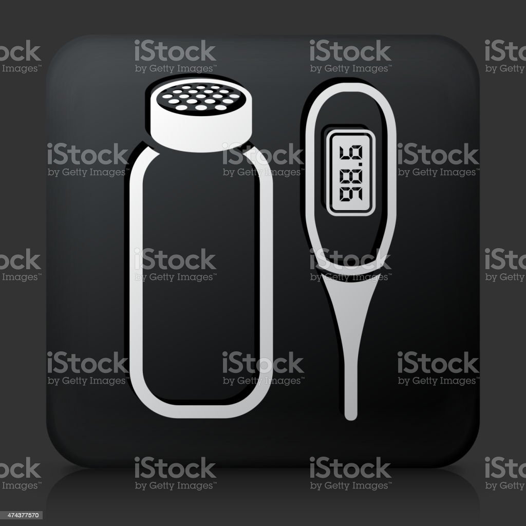 Black Square Button with Baby Powder and Thermometer vector art illustration