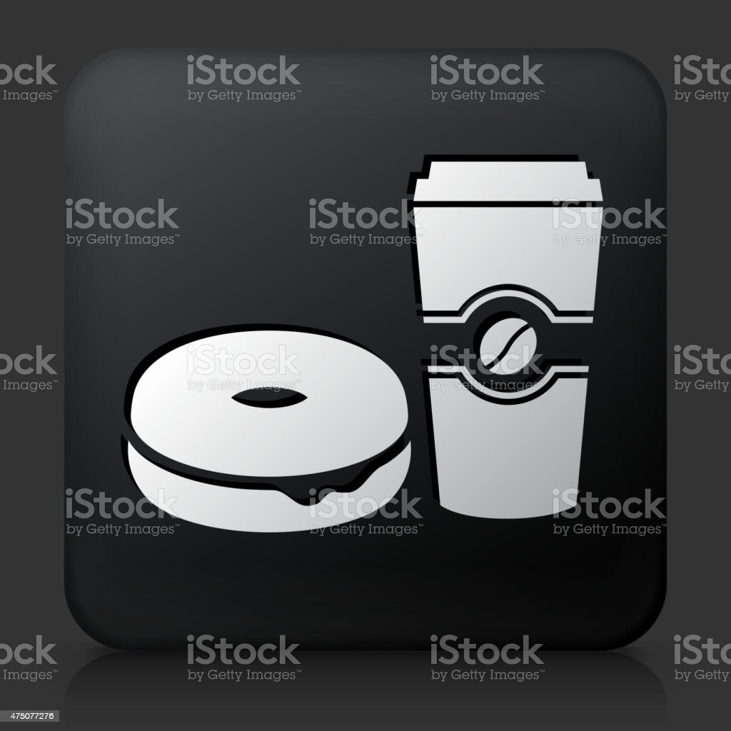 Black Square Button with Bagel & Coffee Icon vector art illustration