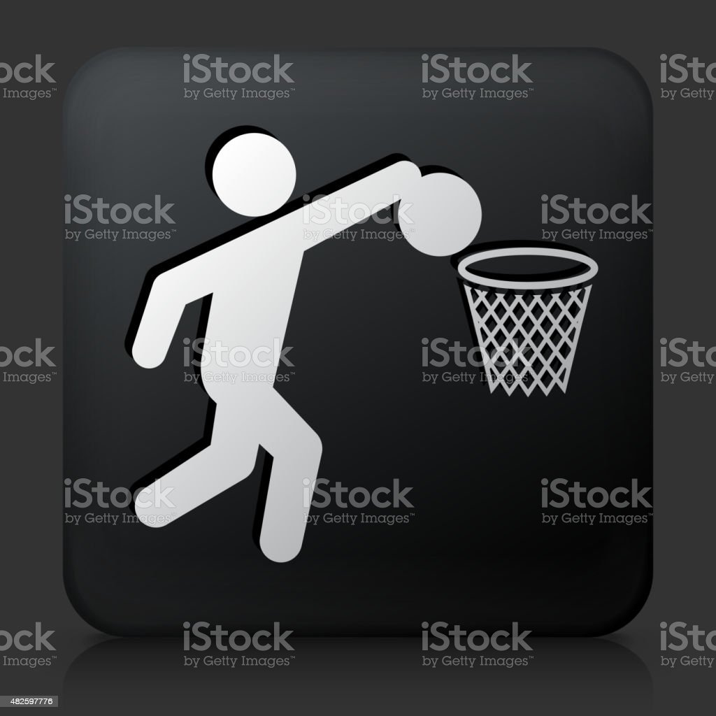 Black Square Button with Basketball Icon vector art illustration