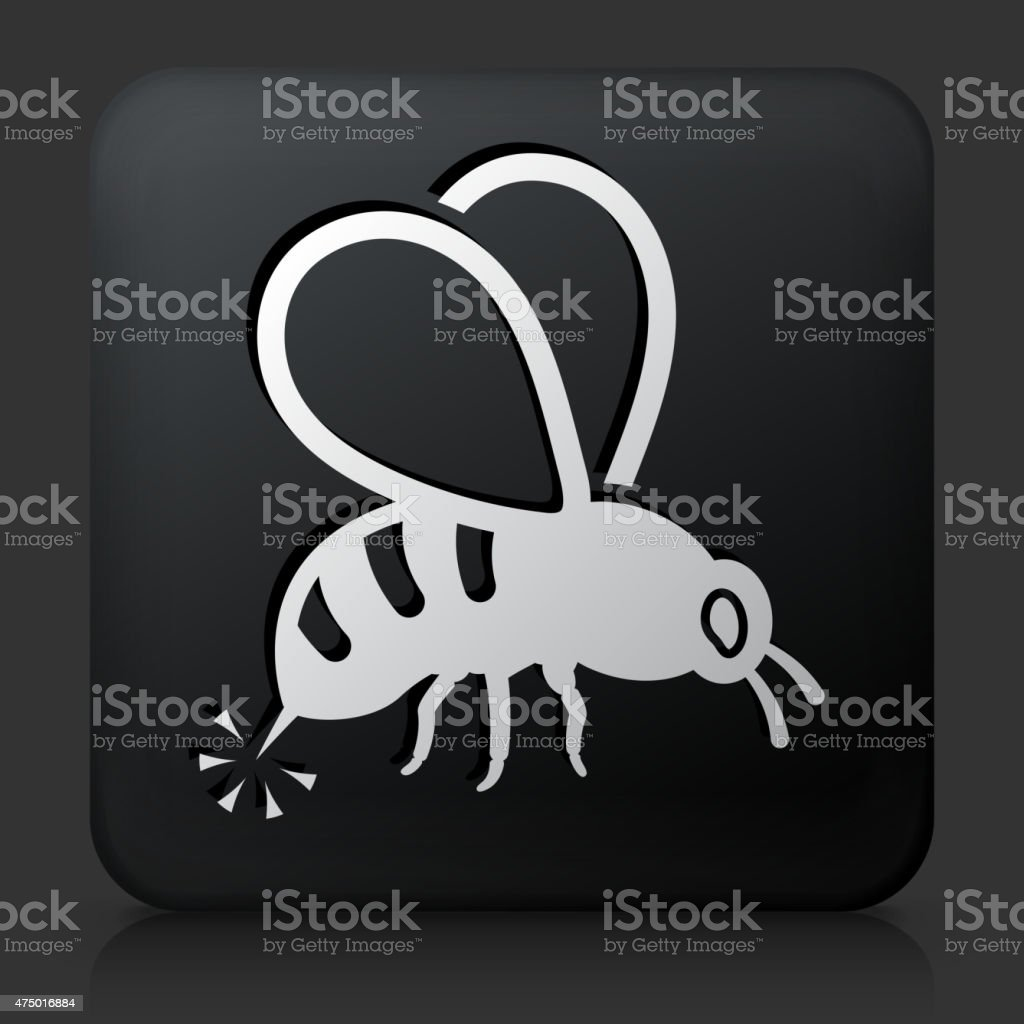 Black Square Button with Bee Sting Icon vector art illustration