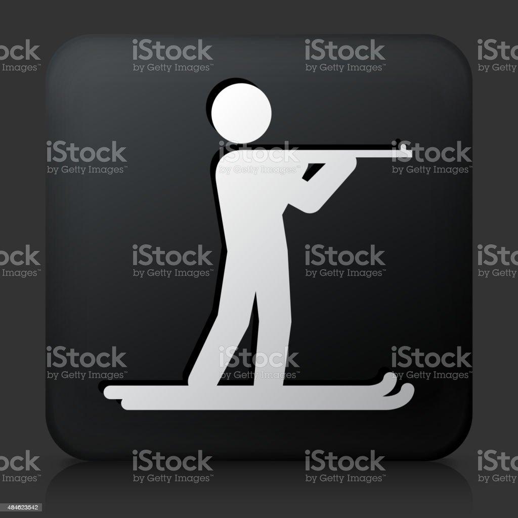 Black Square Button with Biathlon Icon vector art illustration