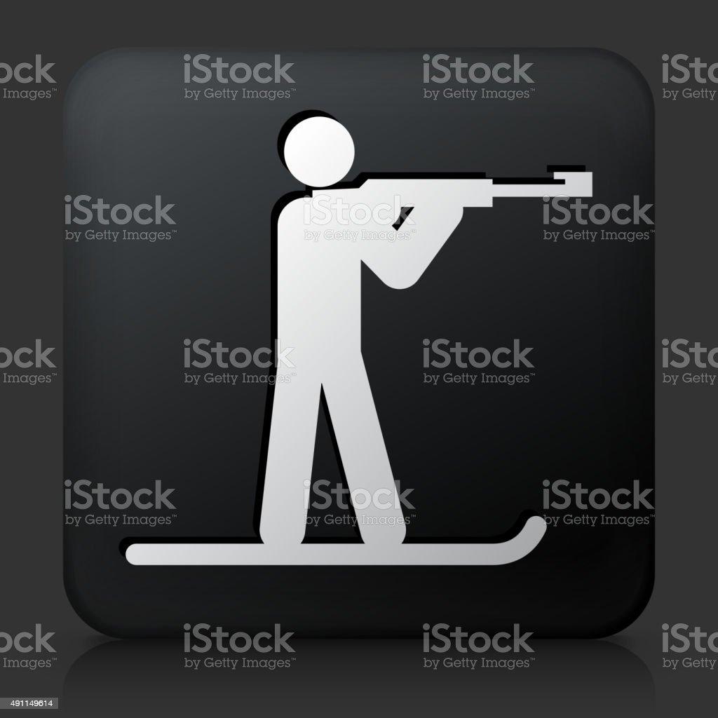 Black Square Button with Biathlon vector art illustration