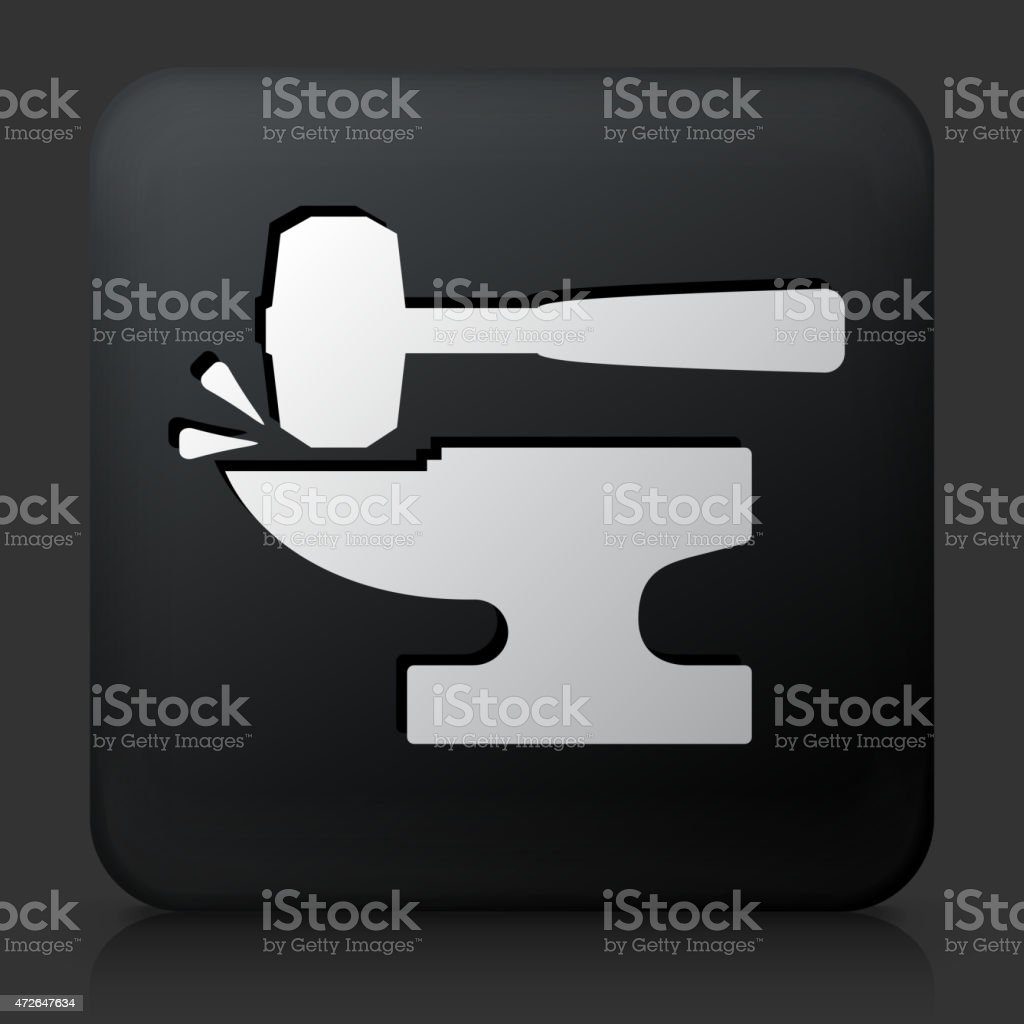 Black Square Button with Blacksmith Anvil & Lump Hammer Icon vector art illustration