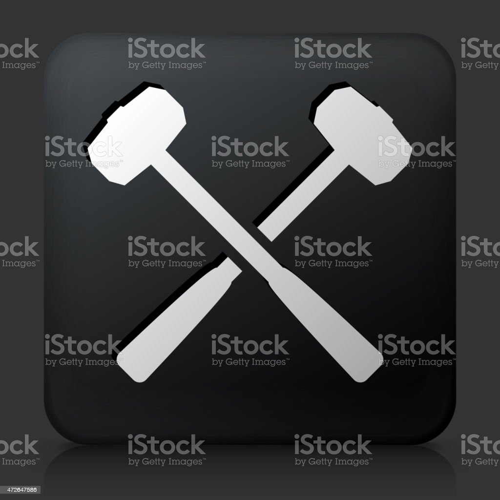 Black Square Button with Blacksmith Lump Hammers Icon vector art illustration