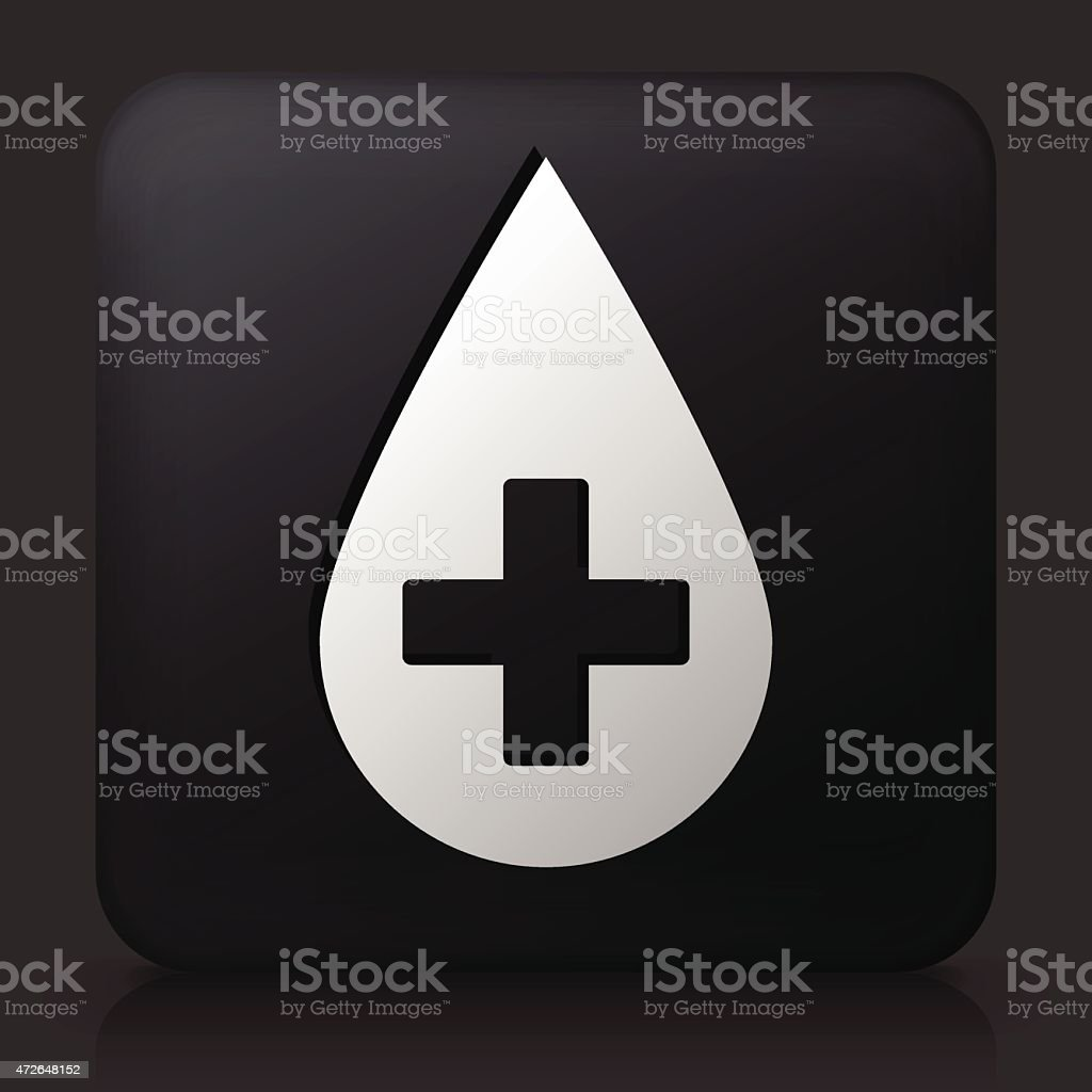 Black Square Button with Blood Donation Icon vector art illustration