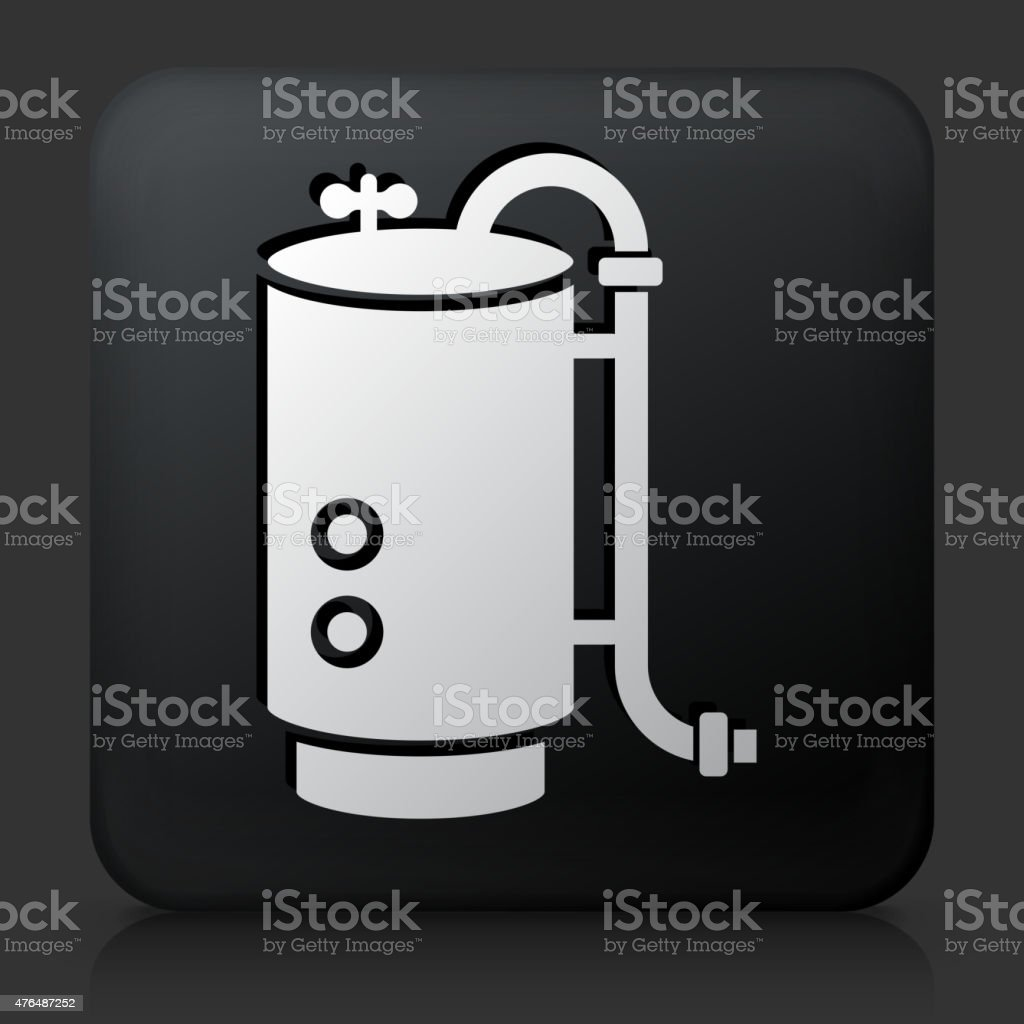 Black Square Button with Boiler Icon vector art illustration