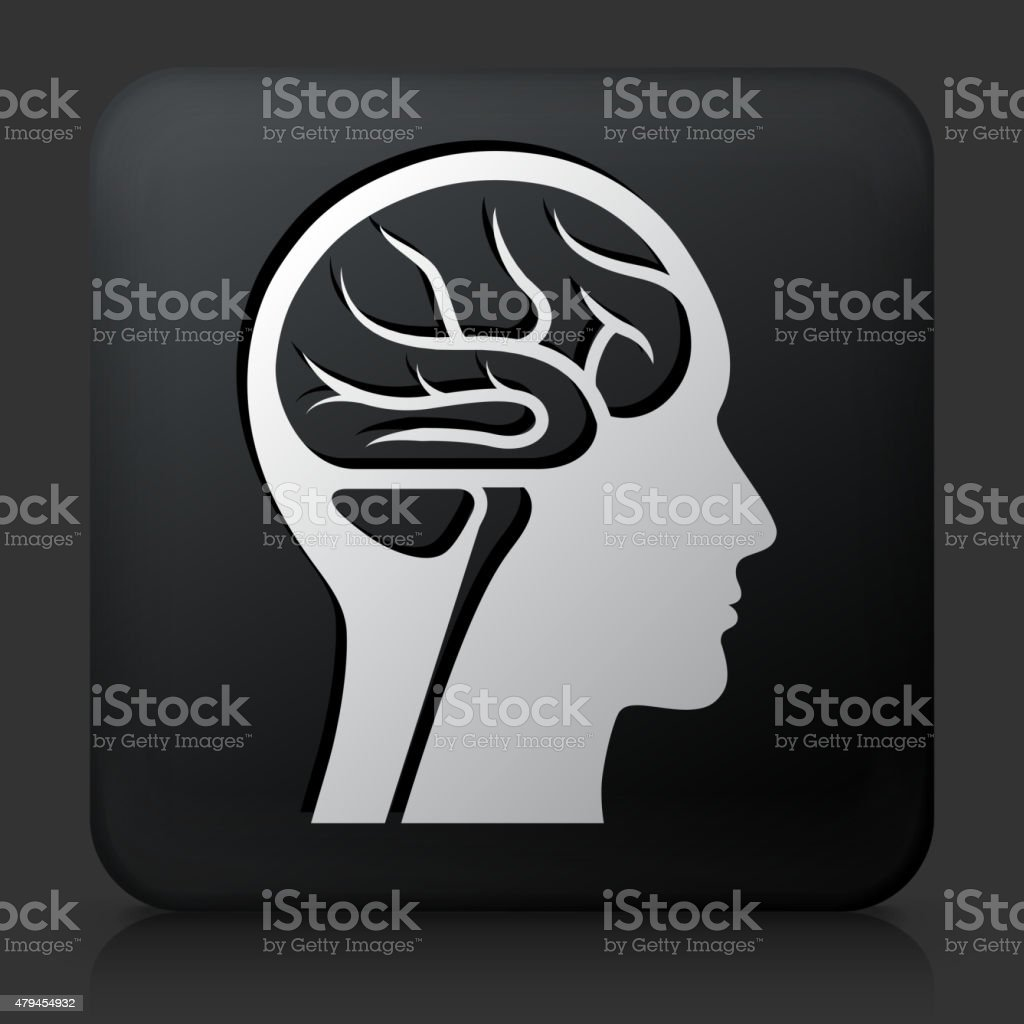 Black Square Button with Brain Scan vector art illustration