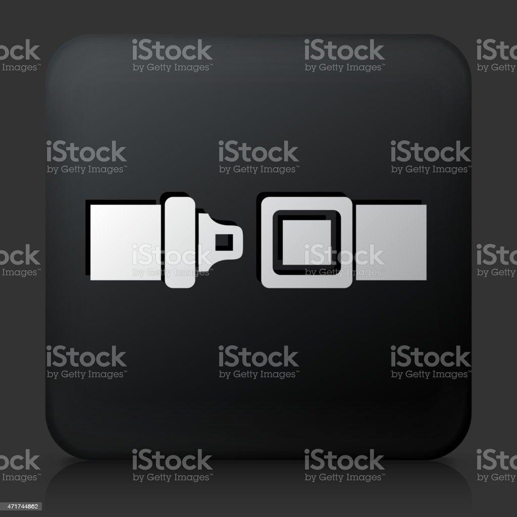 Black Square Button with Buckle Up Icon vector art illustration