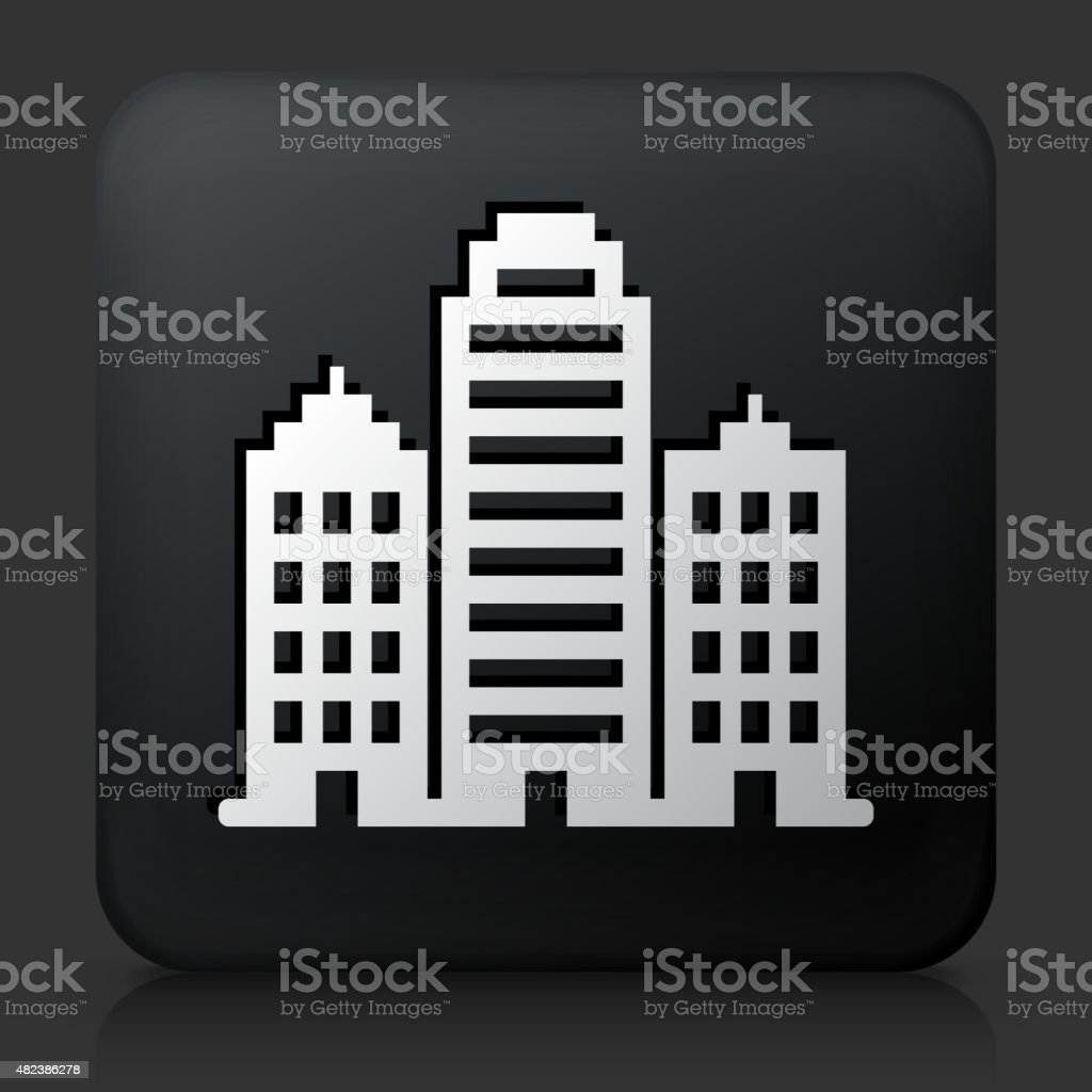 Black square button with Buildings vector art illustration