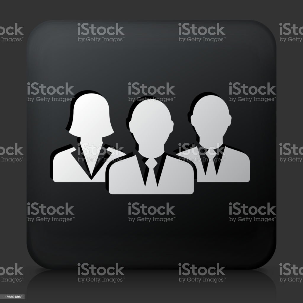 Black Square Button with Business Group Icon vector art illustration