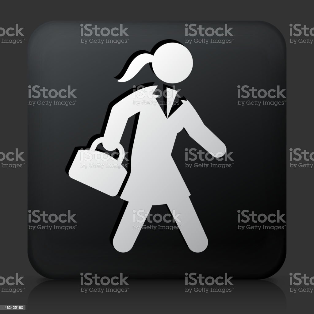 Black Square Button with Businesswoman Briefcase Icon vector art illustration