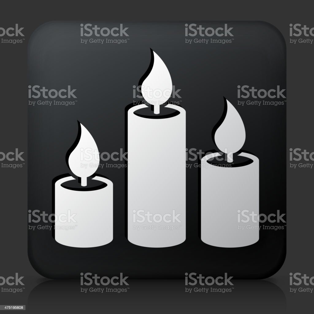 Black Square Button with Candles Icon vector art illustration