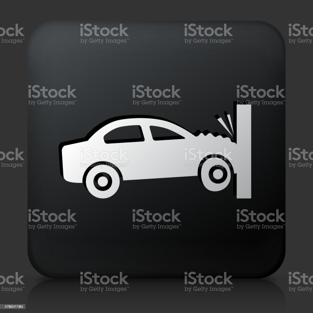 Black Square Button with Car Crash vector art illustration