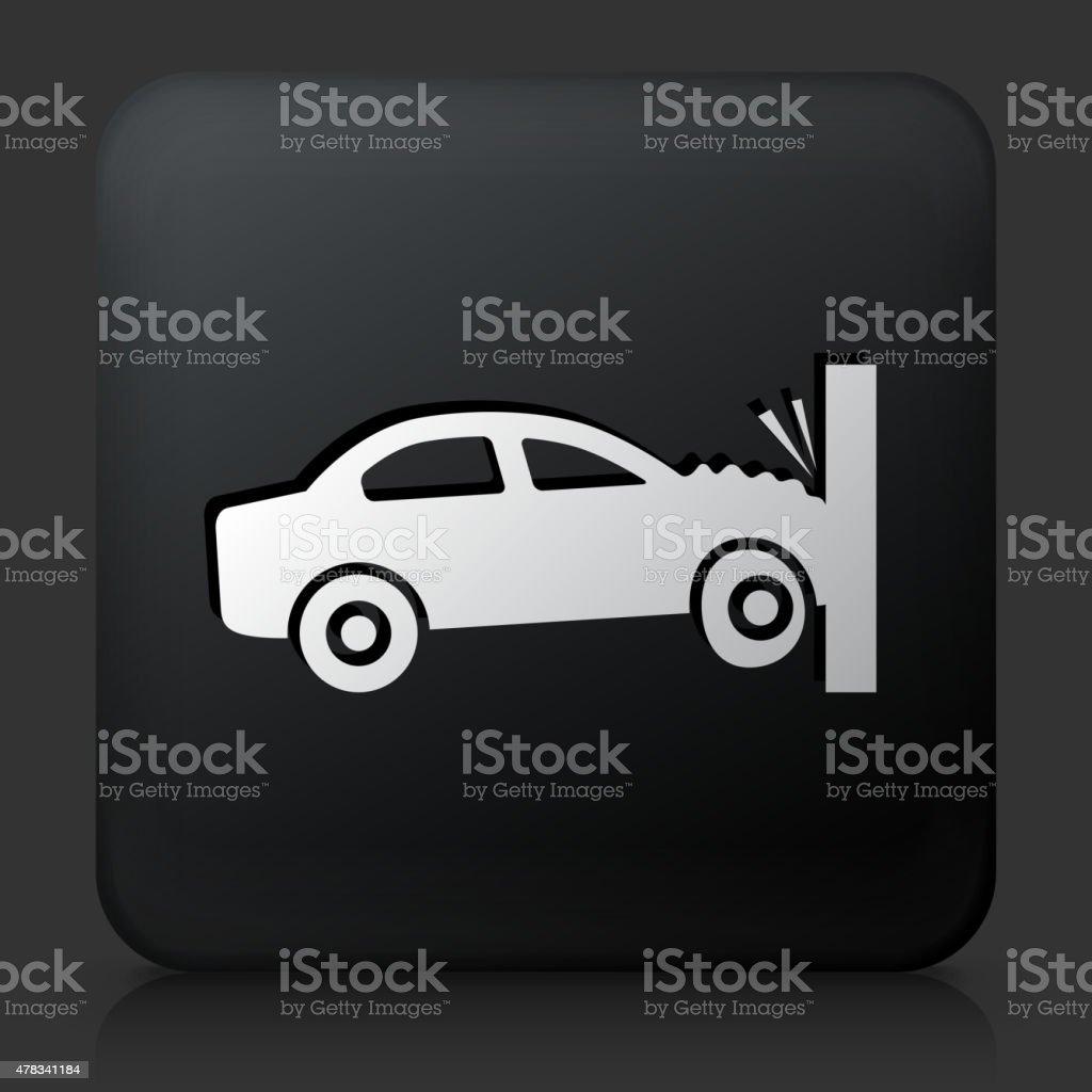Black Square Button with Car Crash vector art illustration