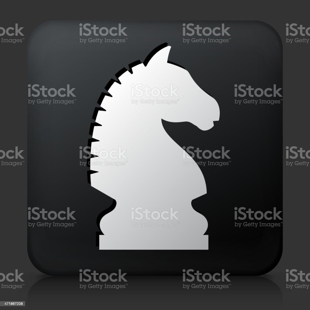 Black Square Button with Chess Knight vector art illustration