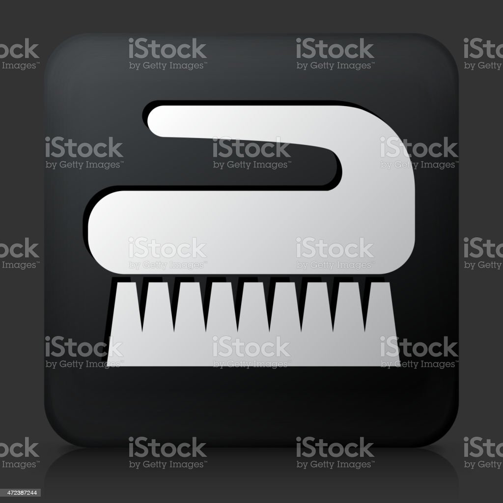 Black Square Button with Cleaning Brush Icon vector art illustration
