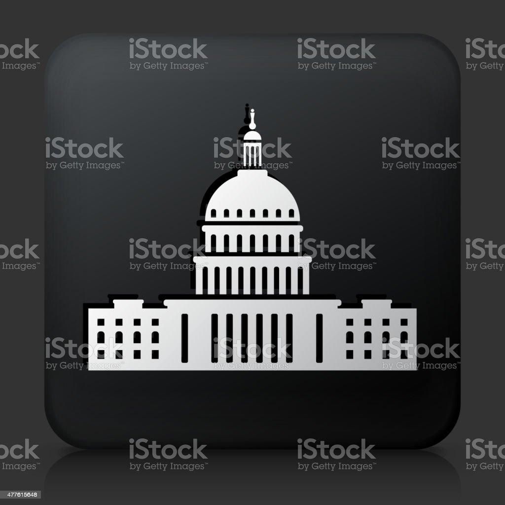 Black Square Button with Congress Icon vector art illustration