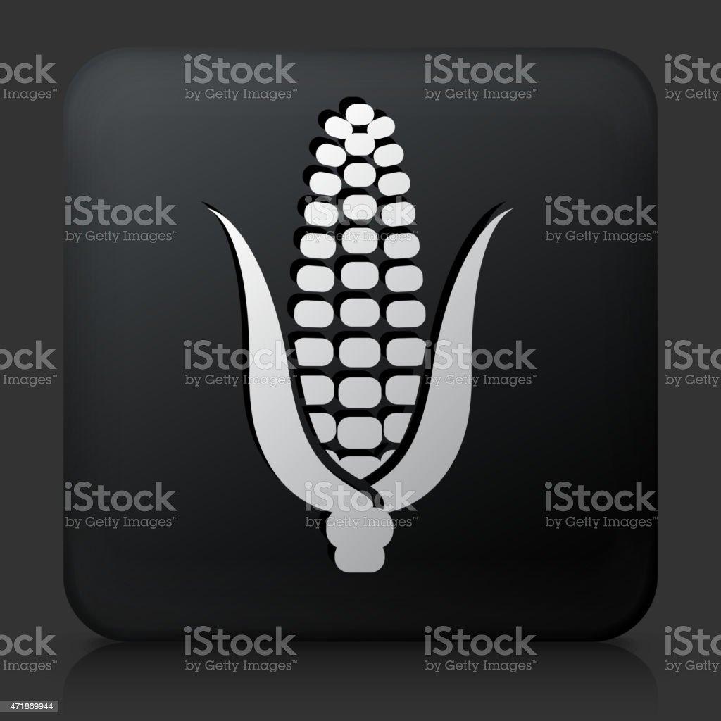 Black Square Button with Corn Cob vector art illustration