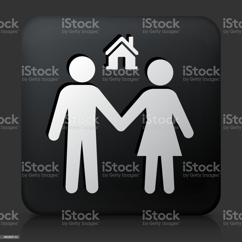 Black square button with  Couple and New Home vector art illustration