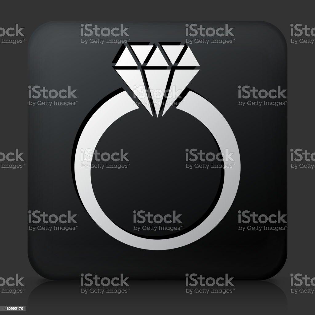 Black Square Button with Diamond Ring Icon vector art illustration