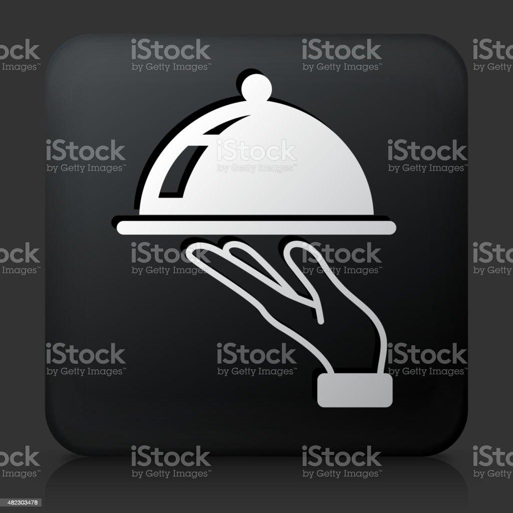 Black Square Button with Dish Icon vector art illustration