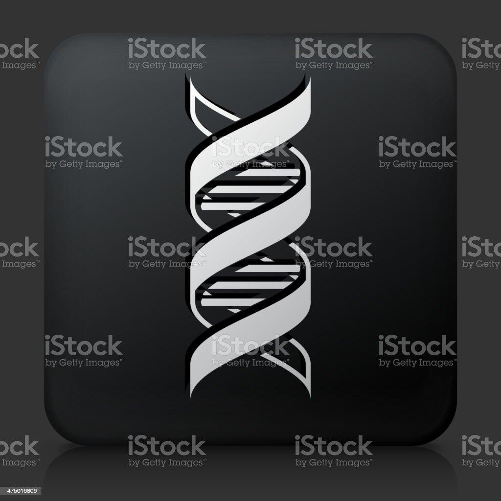 Black Square Button with DNA Icon vector art illustration