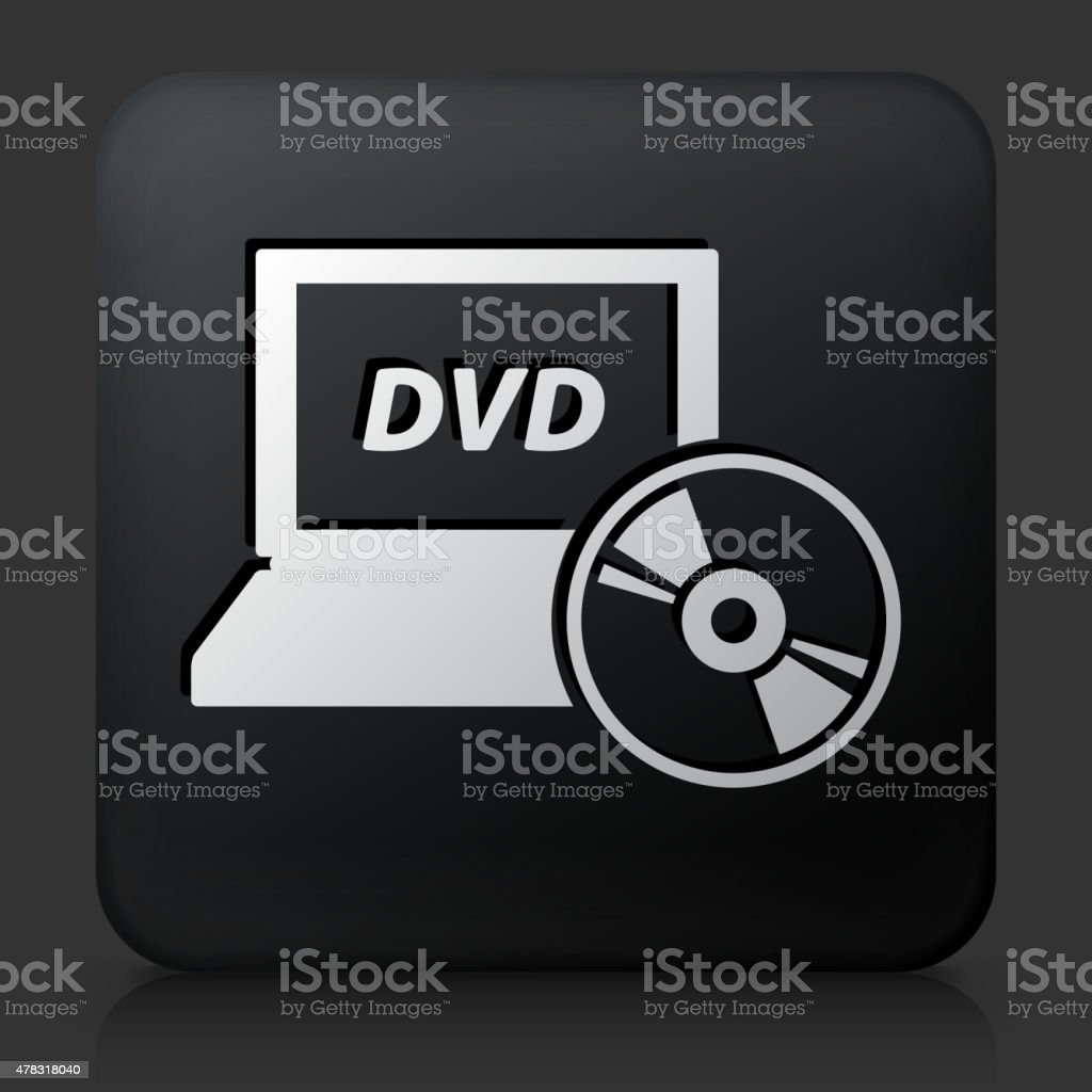 Black Square Button with DVD Laptop Icon vector art illustration