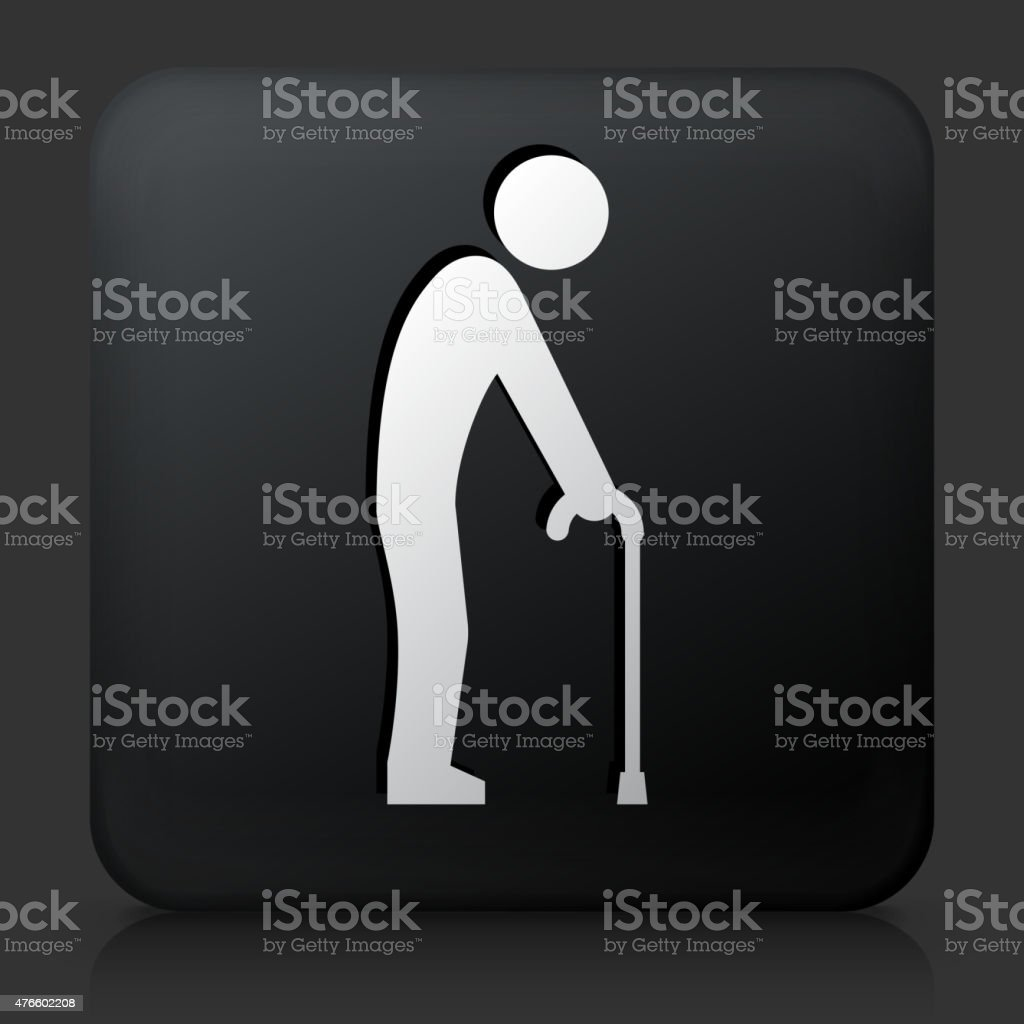 Black Square Button with Elderly Man Holding Cane vector art illustration