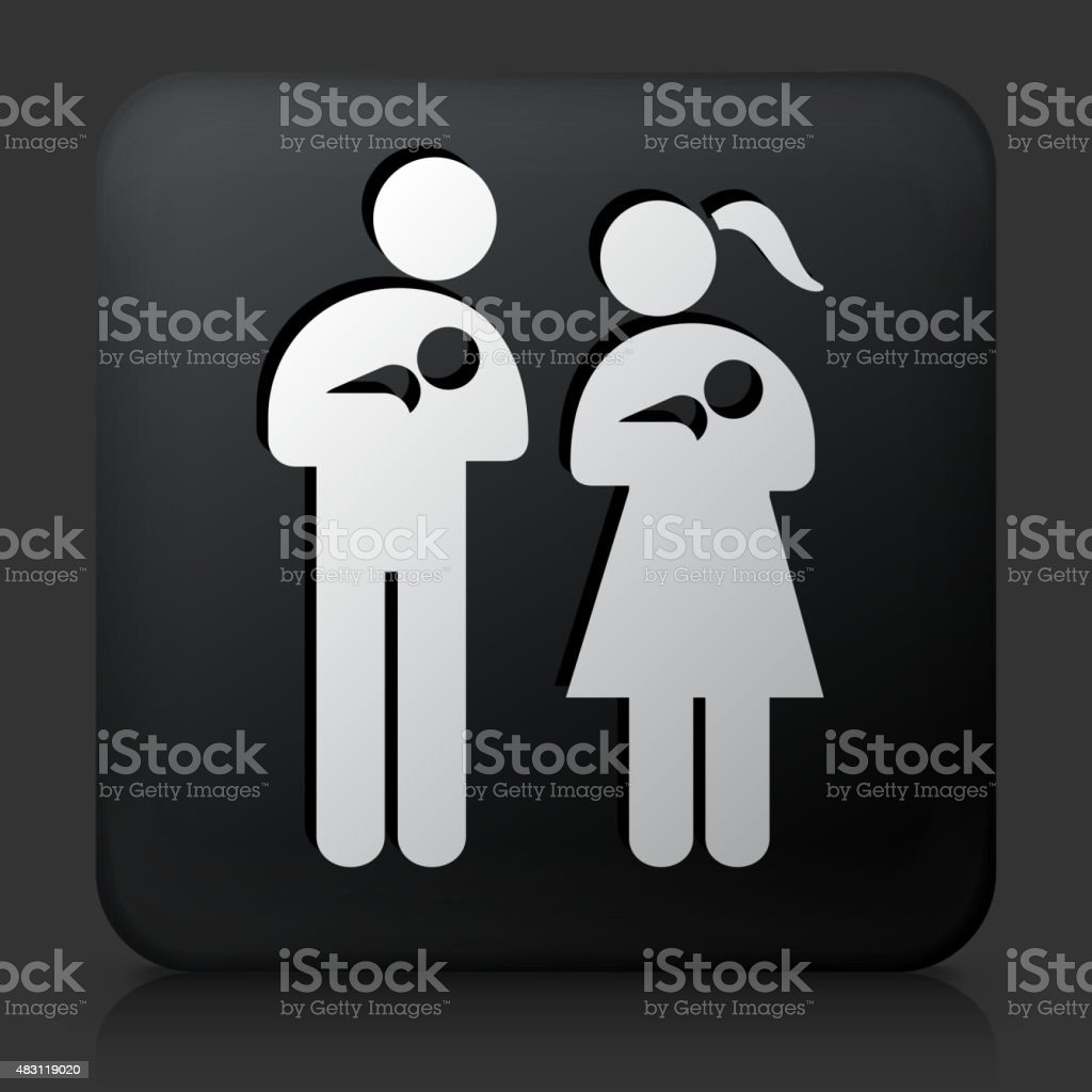 Black Square Button with Family & Babies Icon vector art illustration
