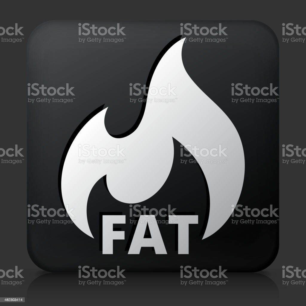 Black Square Button with Fat Burning Icon vector art illustration