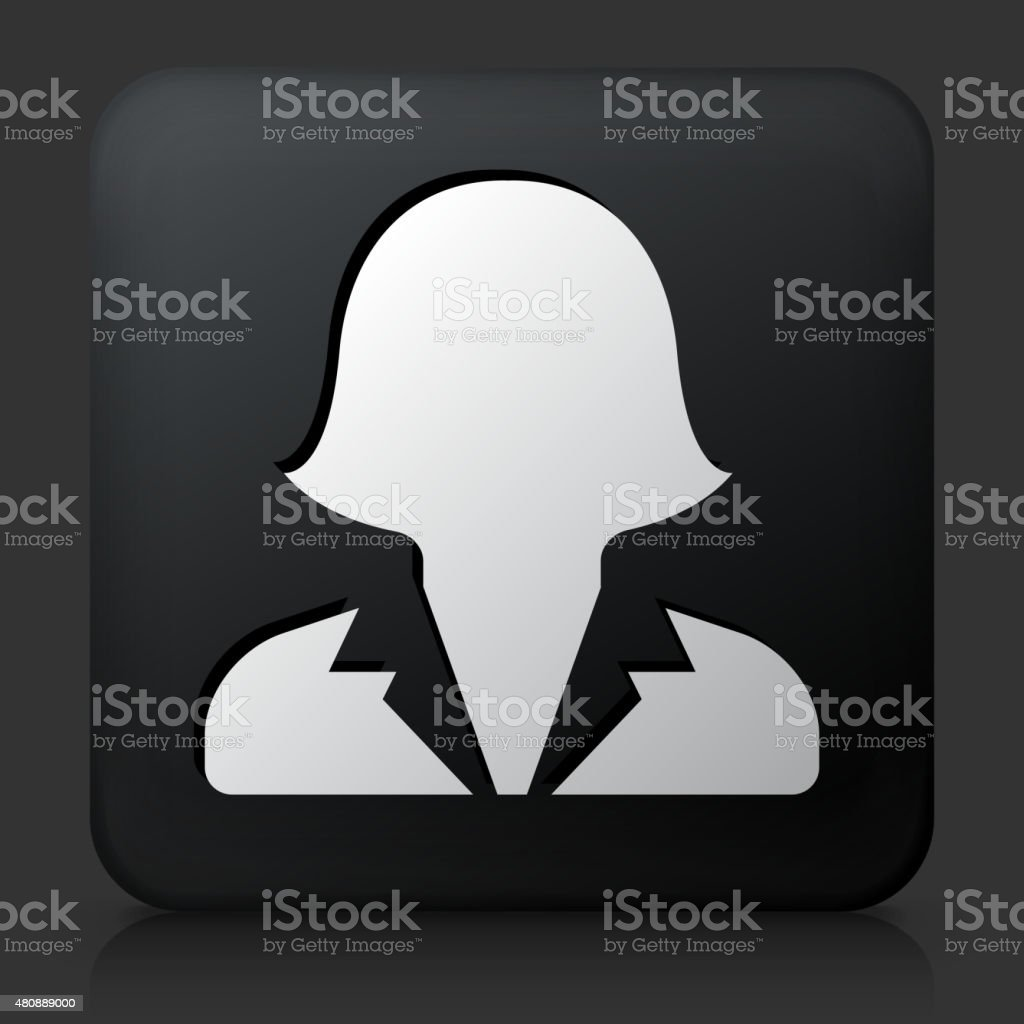 Black Square Button with Female Headshot Icon vector art illustration