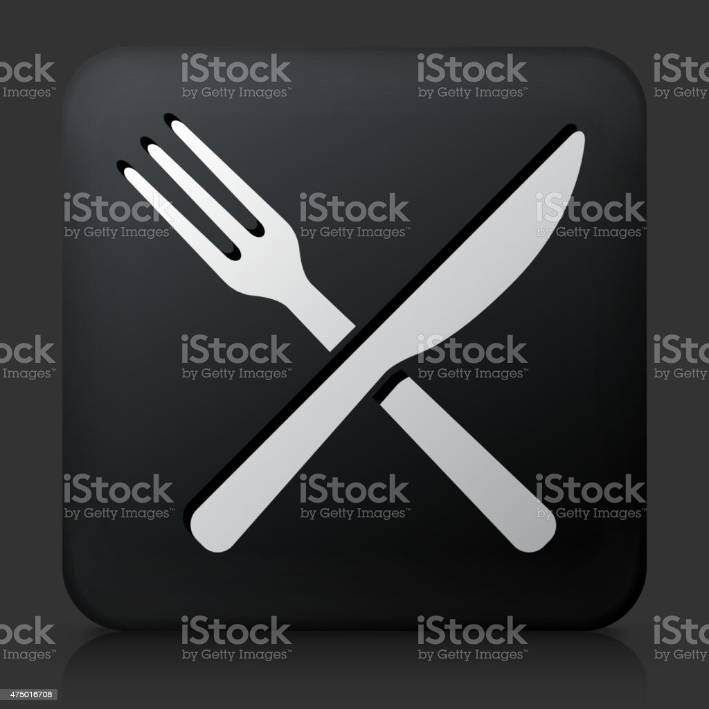 Black Square Button with Fork and Knife vector art illustration
