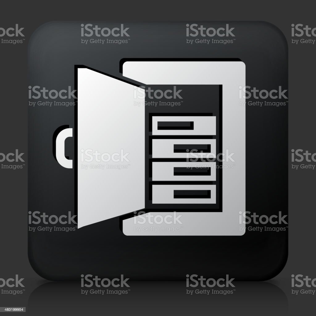 Black Square Button with Fuse Amps vector art illustration