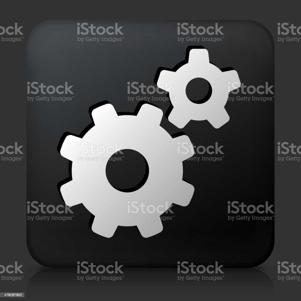 Black Square Button with Gears Icon vector art illustration