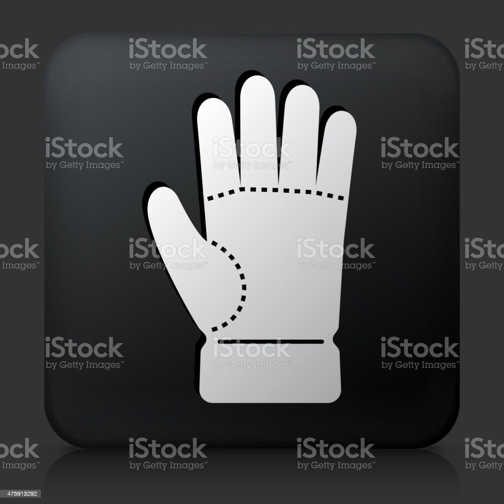 Black Square Button with Glove Icon vector art illustration