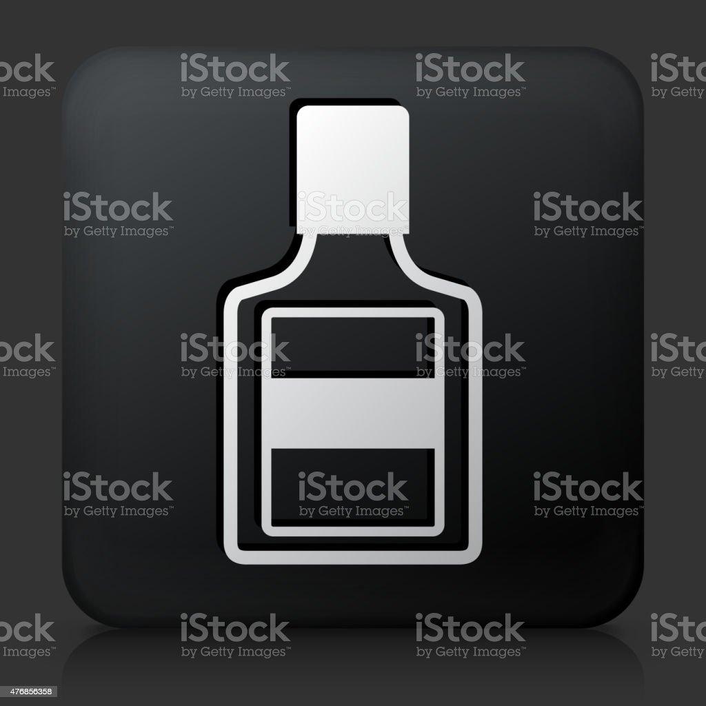 Black Square Button with Glue Bottle vector art illustration