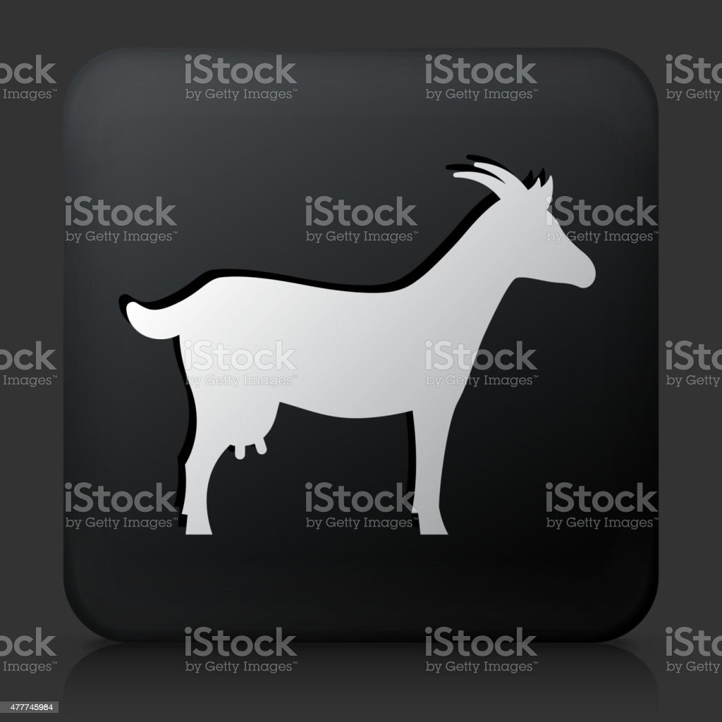 Black Square Button with Goat Icon vector art illustration