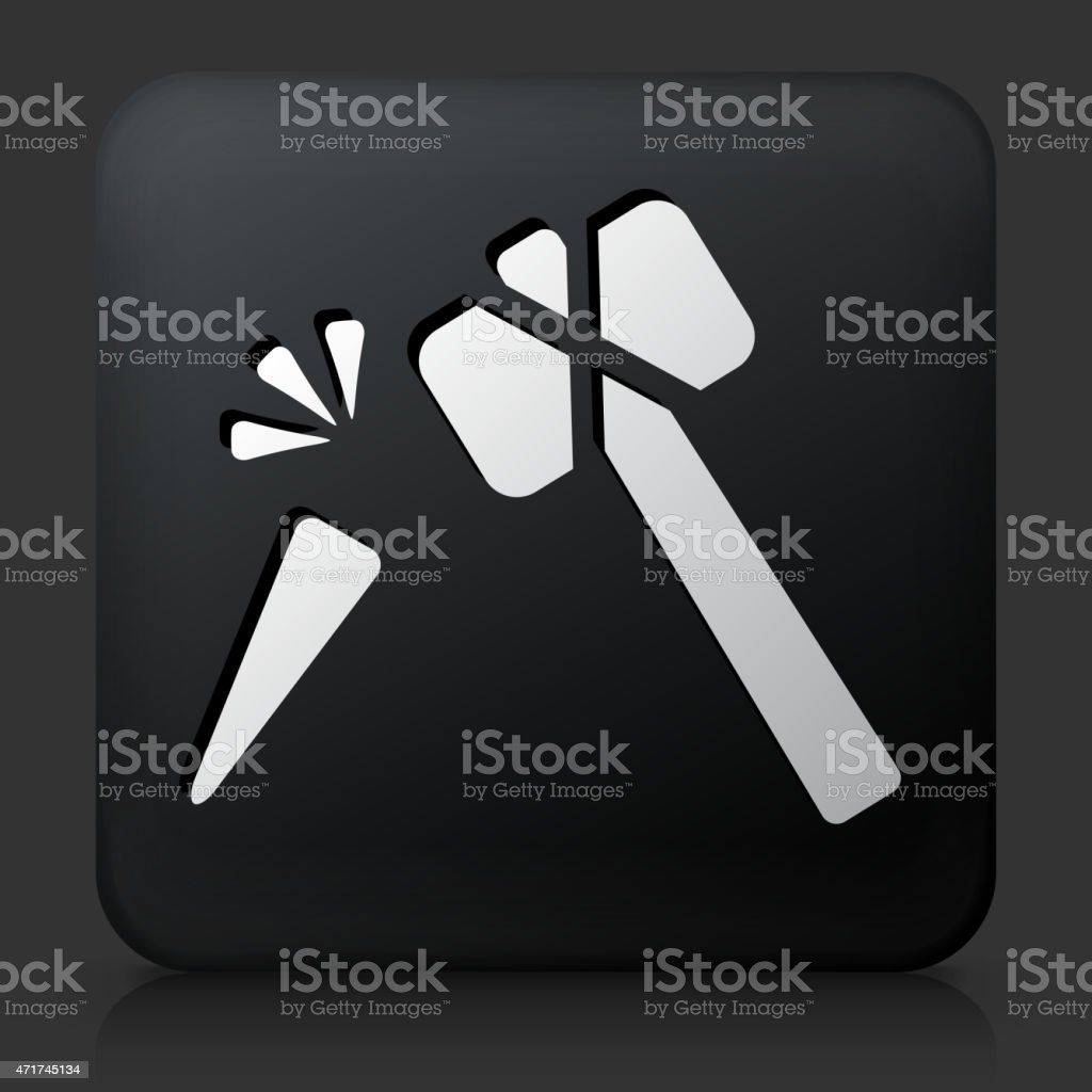 Black Square Button with Hammer and Chisel Icon vector art illustration
