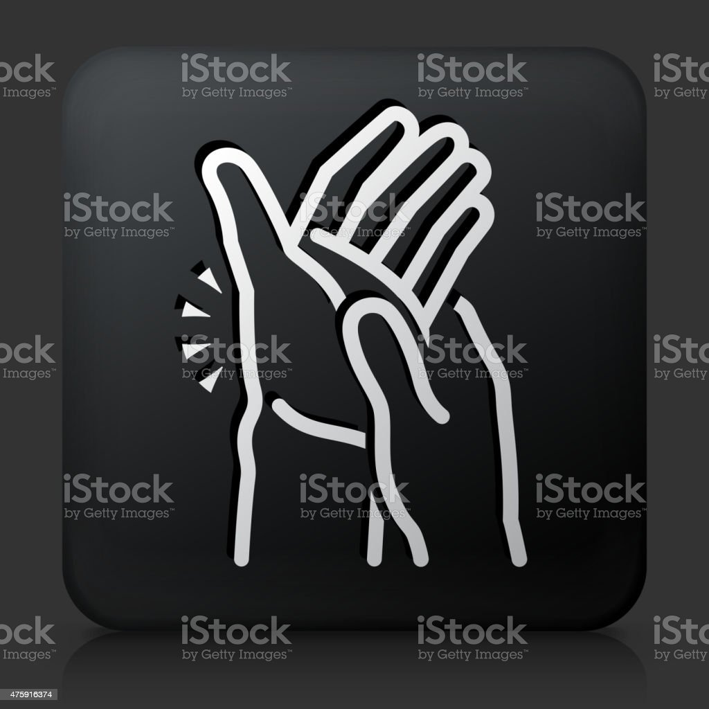 Black Square Button with Hands Pain Icon vector art illustration